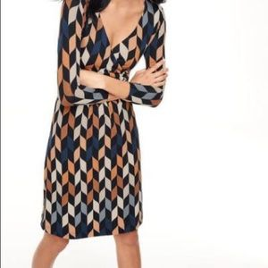 Boden faux wrap long sleeve dress- grey and black